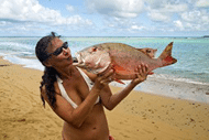 Woman-kissing-fish