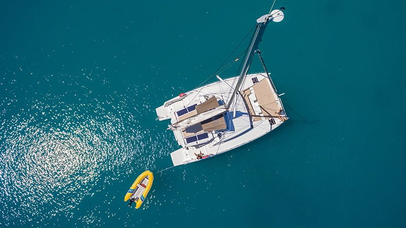 yacht & tender in the whitsundays